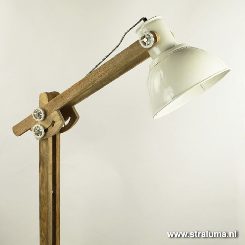 Light & Living vloerlamp Edward hout-wit
