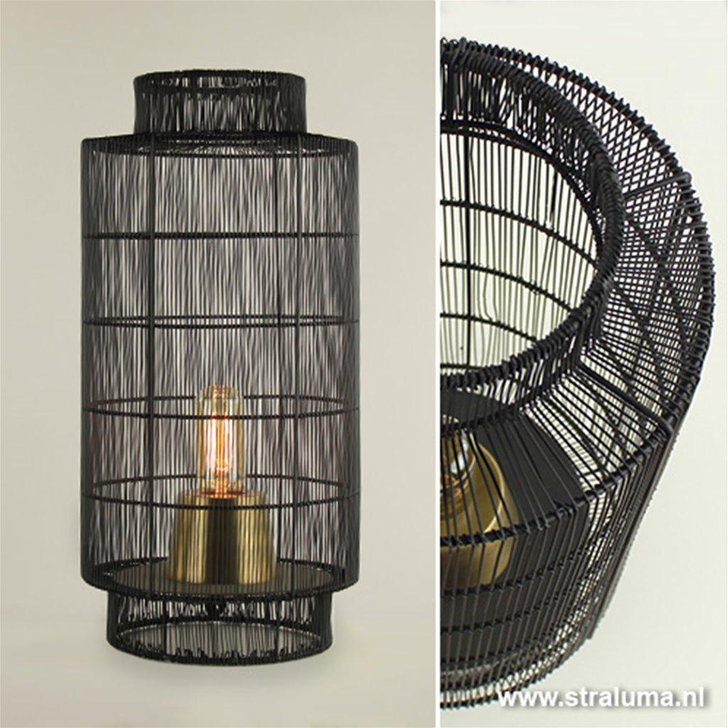 L&L tafellamp Gruaro zwart draad