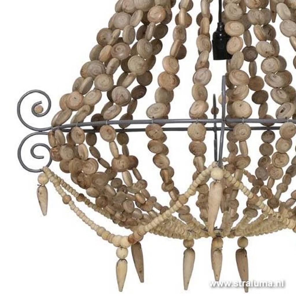 Landelijke houten kralen kroonluchter