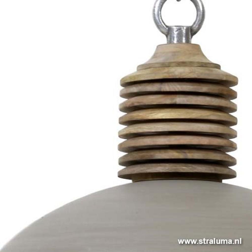 Light & Living hanglamp grijs/hout Avery