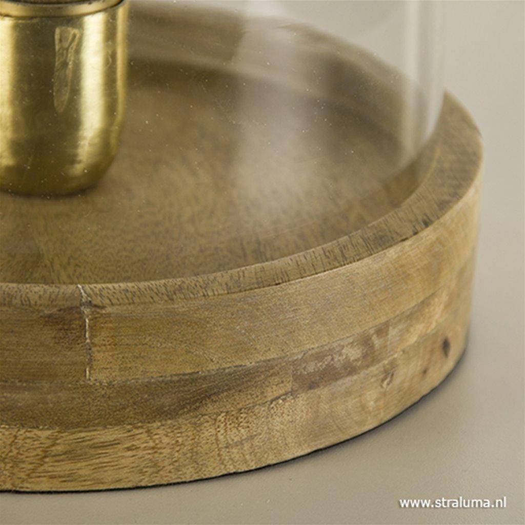 Tafellamp Celebes helder glas/hout L&L
