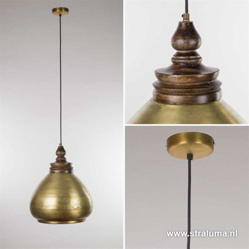 **Hanglamp landelijk Sanyu brons/hout