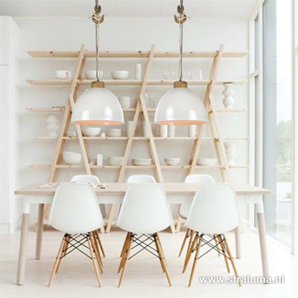 Witte hanglamp Melissa touw/ hout L&L