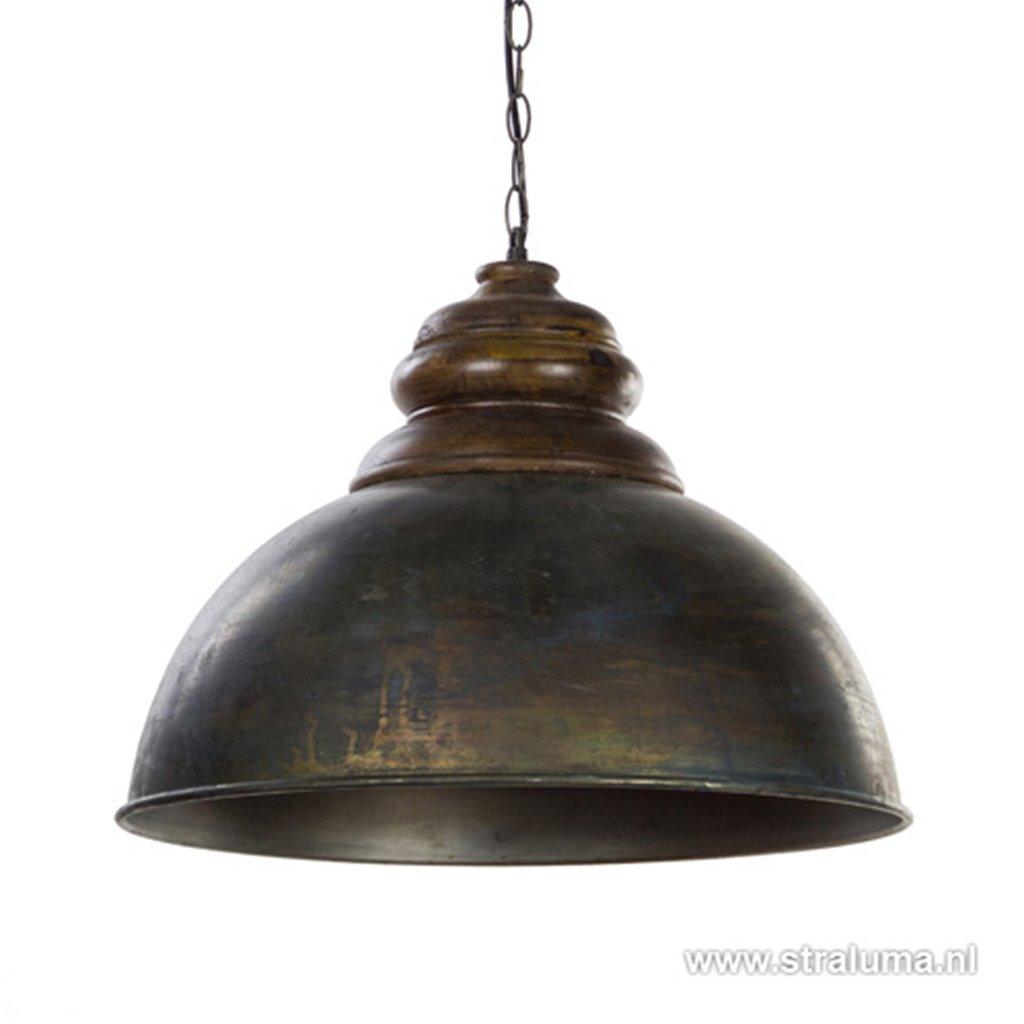 *Antiek metalen hanglamp met hout