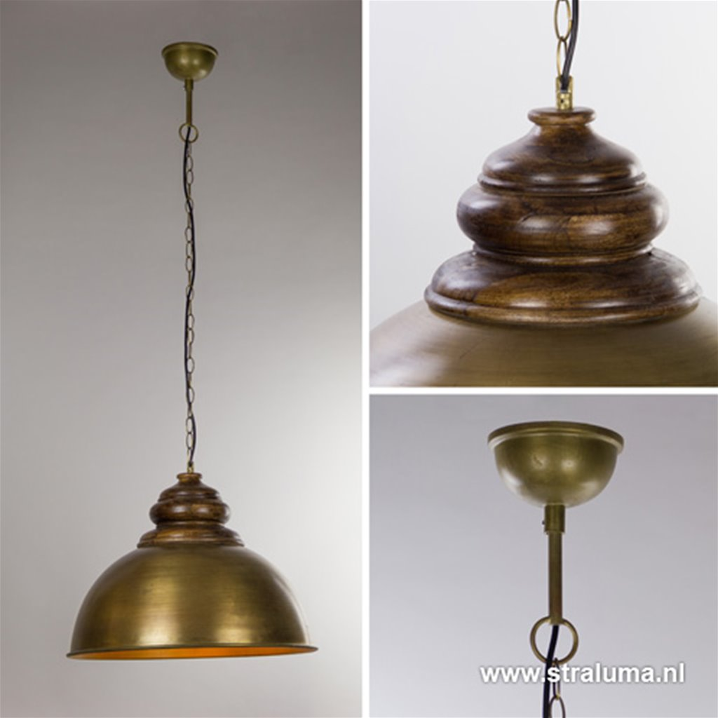 Landelijke hanglamp brons met hout 60cm