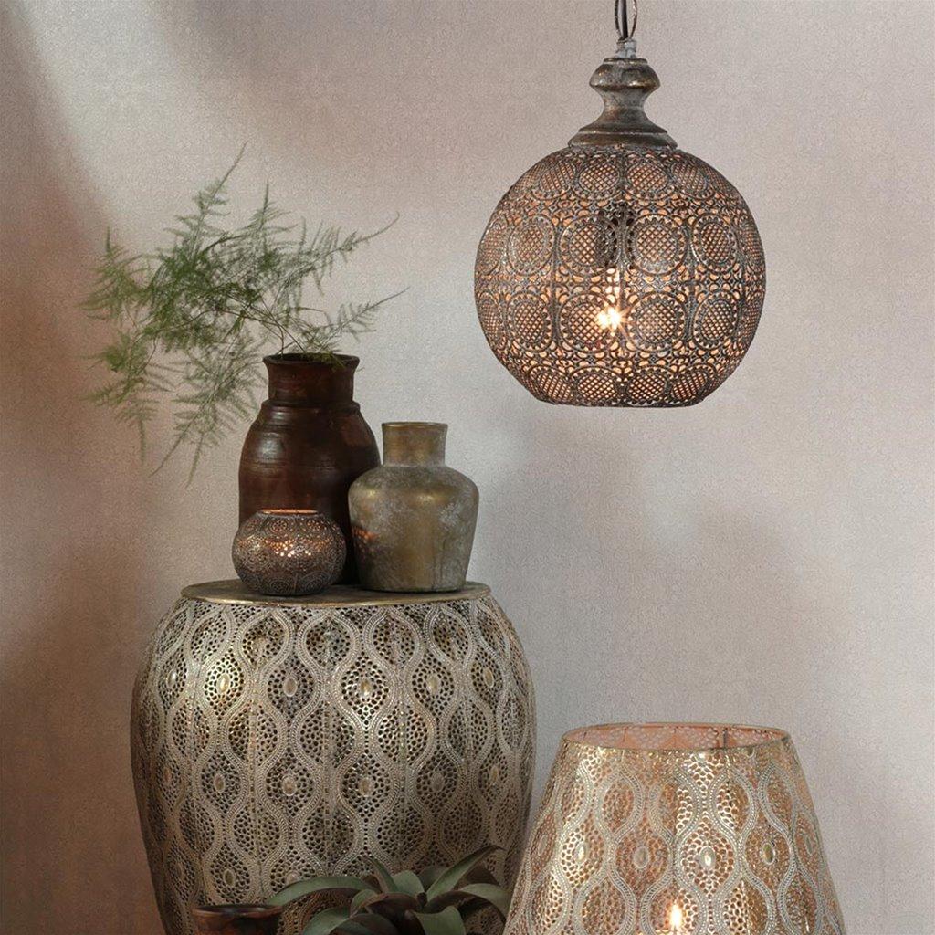 Light Living hanglamp Ananya bruin-goud