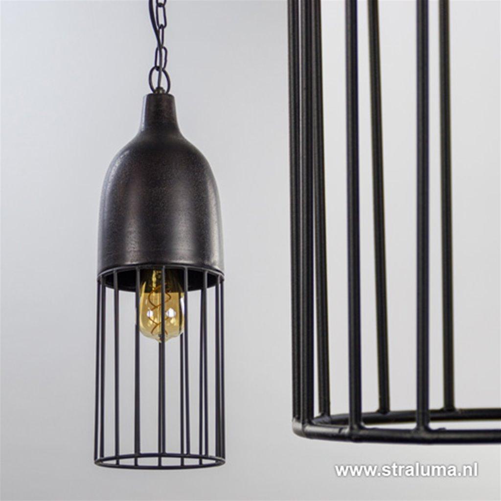 Zwarte metalen hanglamp draad L&L