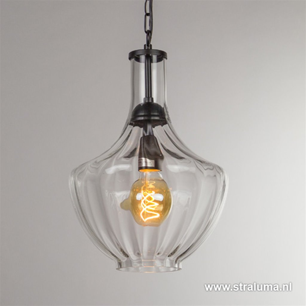 Trendy glazen hanglamp met zwart L&L