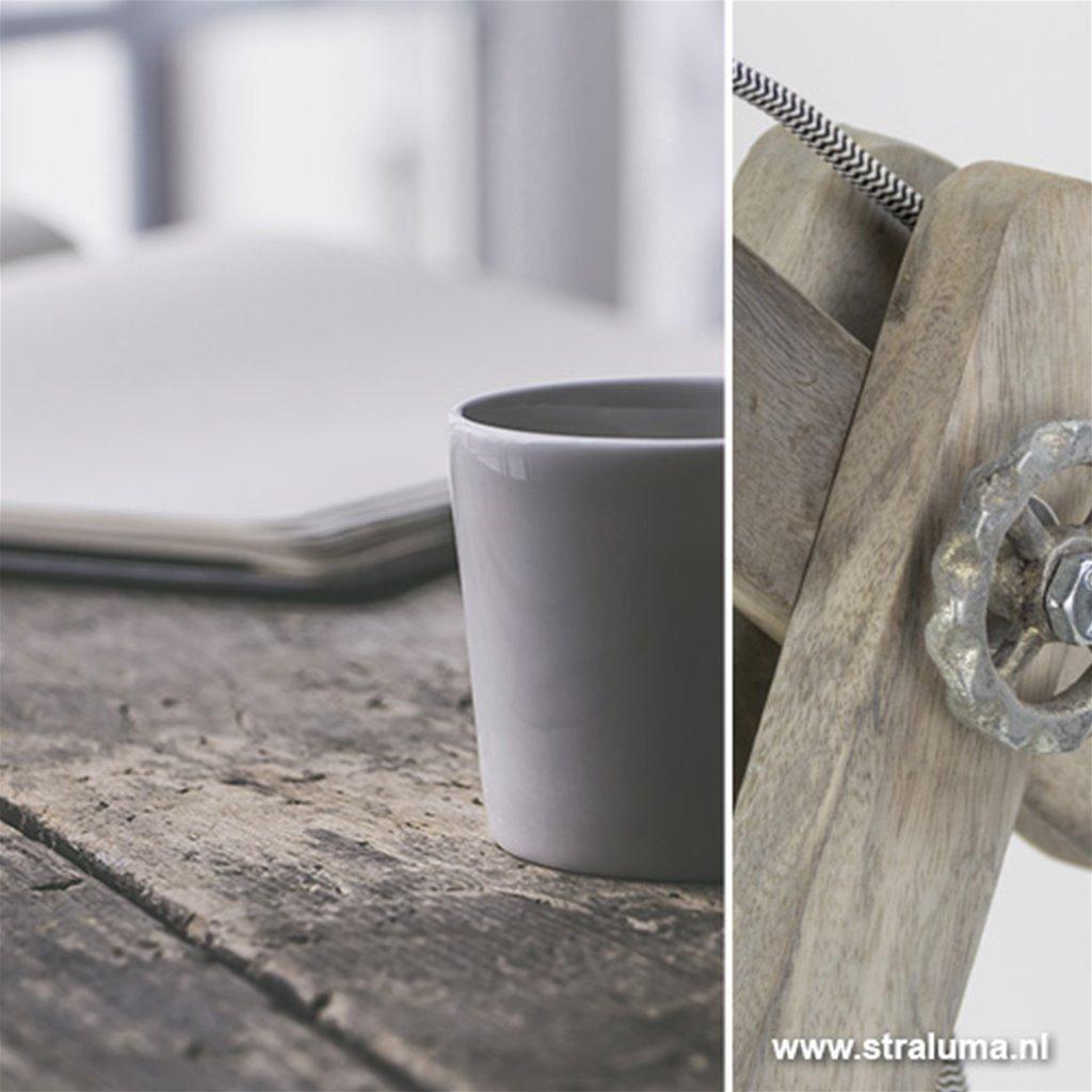 **Grijze tafellamp hout met staal L&L