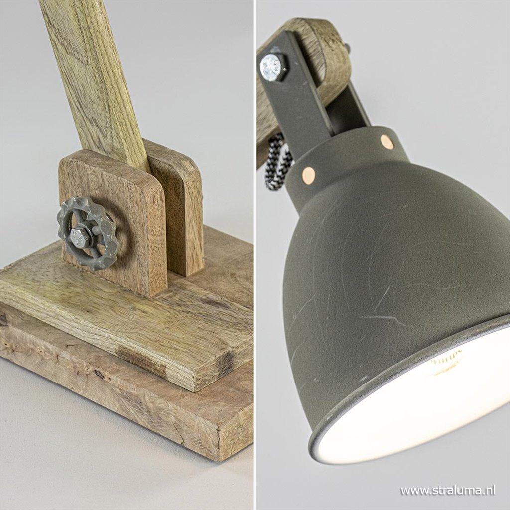 Bureaulamp landelijk hout met grijze kap