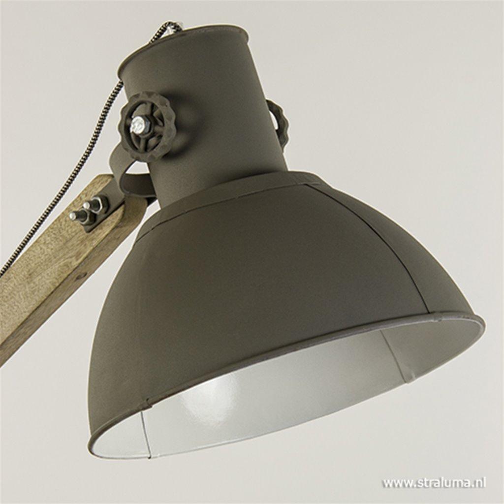 Houten vloerlamp met grijze kap L&L