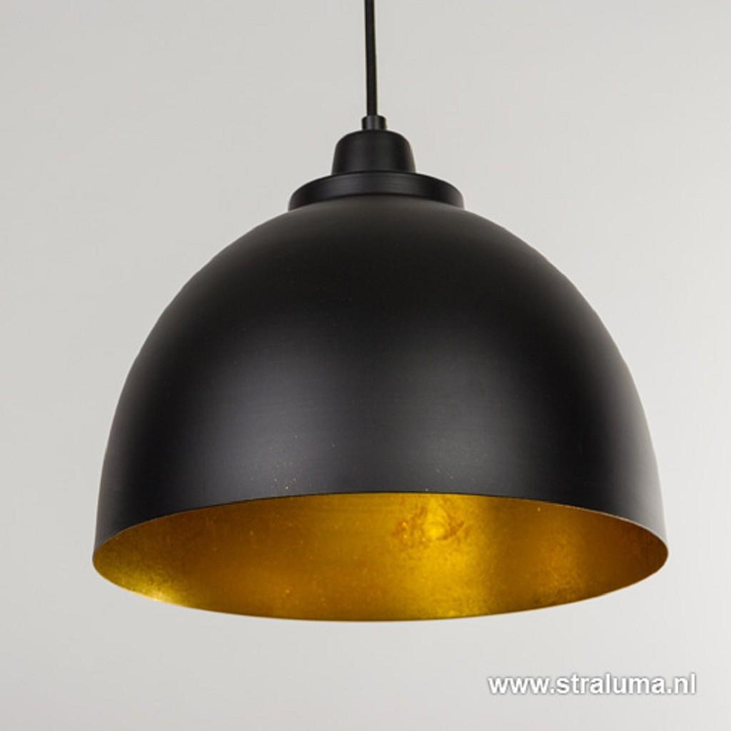 Eettafel hanglamp Kylie 3- lichts zwart-goud