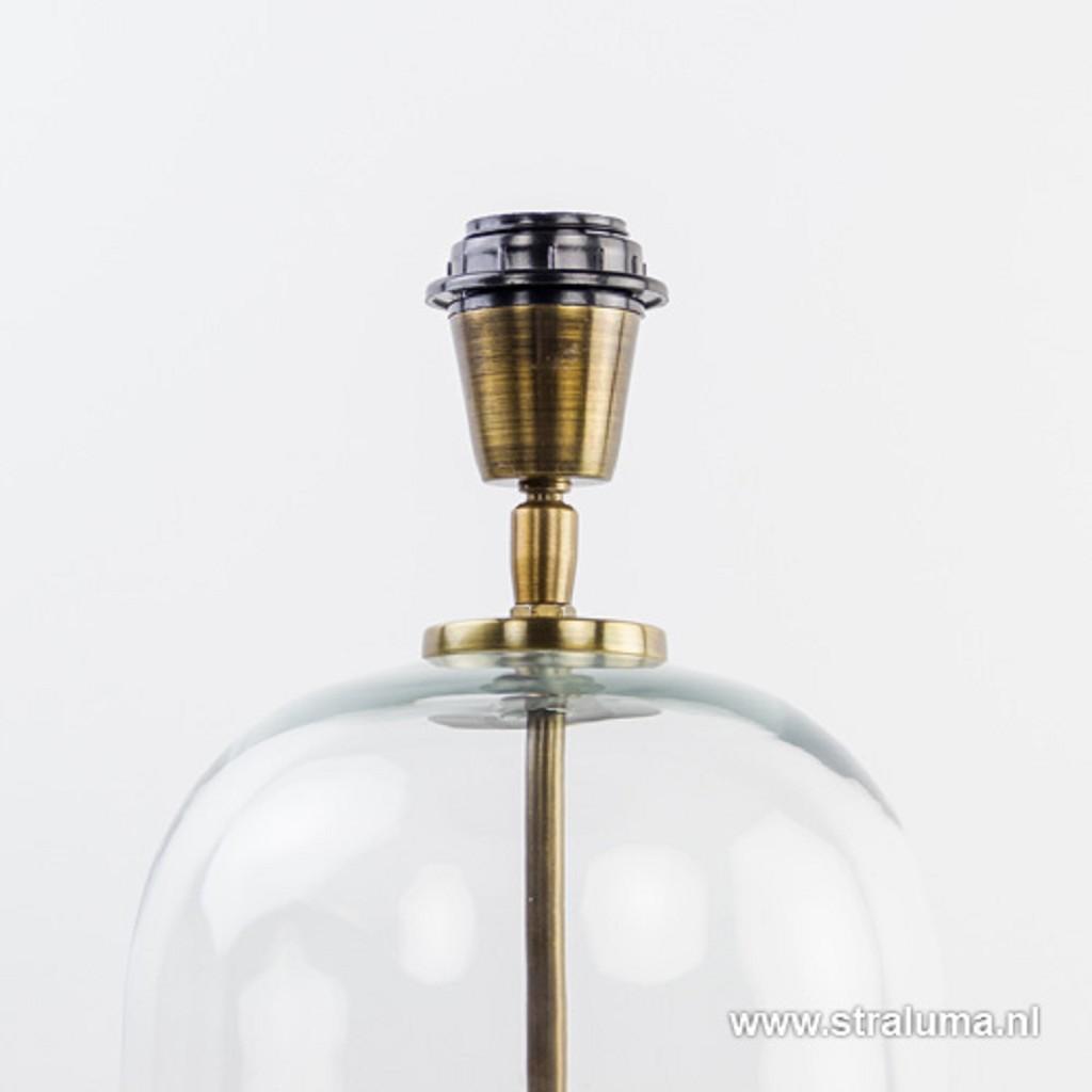 Klasieke tafellamp glas met brons ex kap