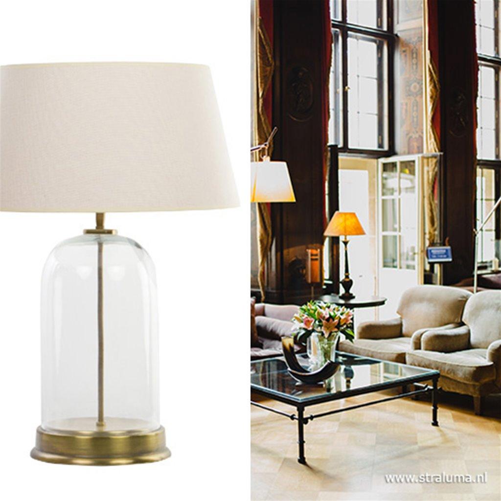Klasieke tafellamp glas met brons ex kap straluma.nl