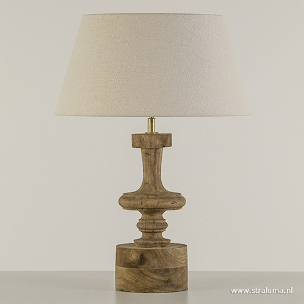 Houten tafellamp-lampvoet met brons