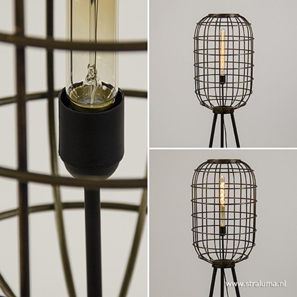 Vloerlamp oud-brons zwart kooi
