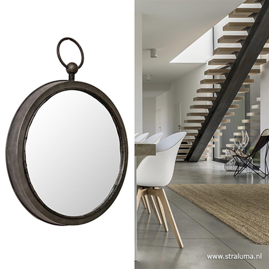 Verwonderend Ronde spiegel zink/grijs groot 46 cm | Straluma NY-88