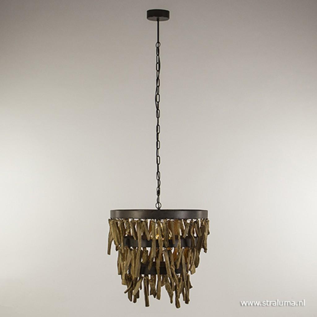 Sfeervolle houten hanglamp rond