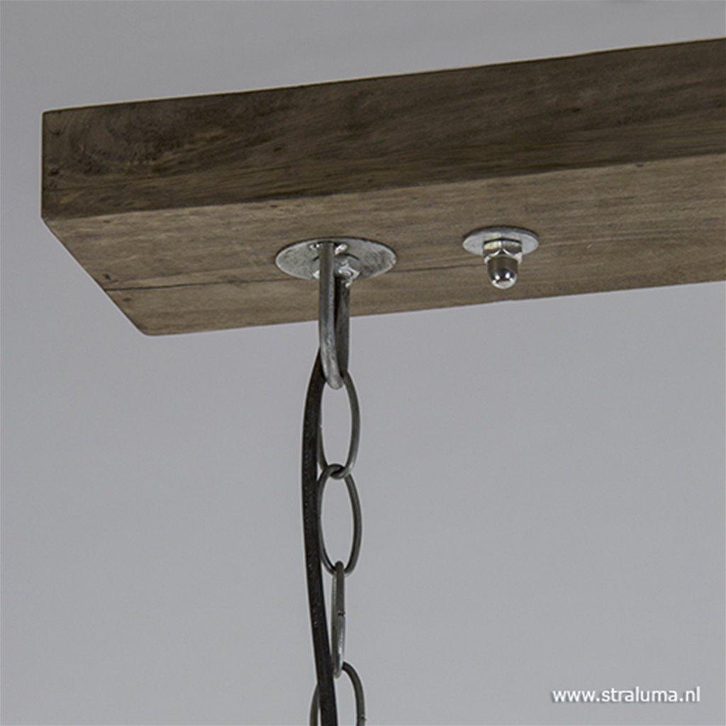 Industriele hanglamp metaal met hout