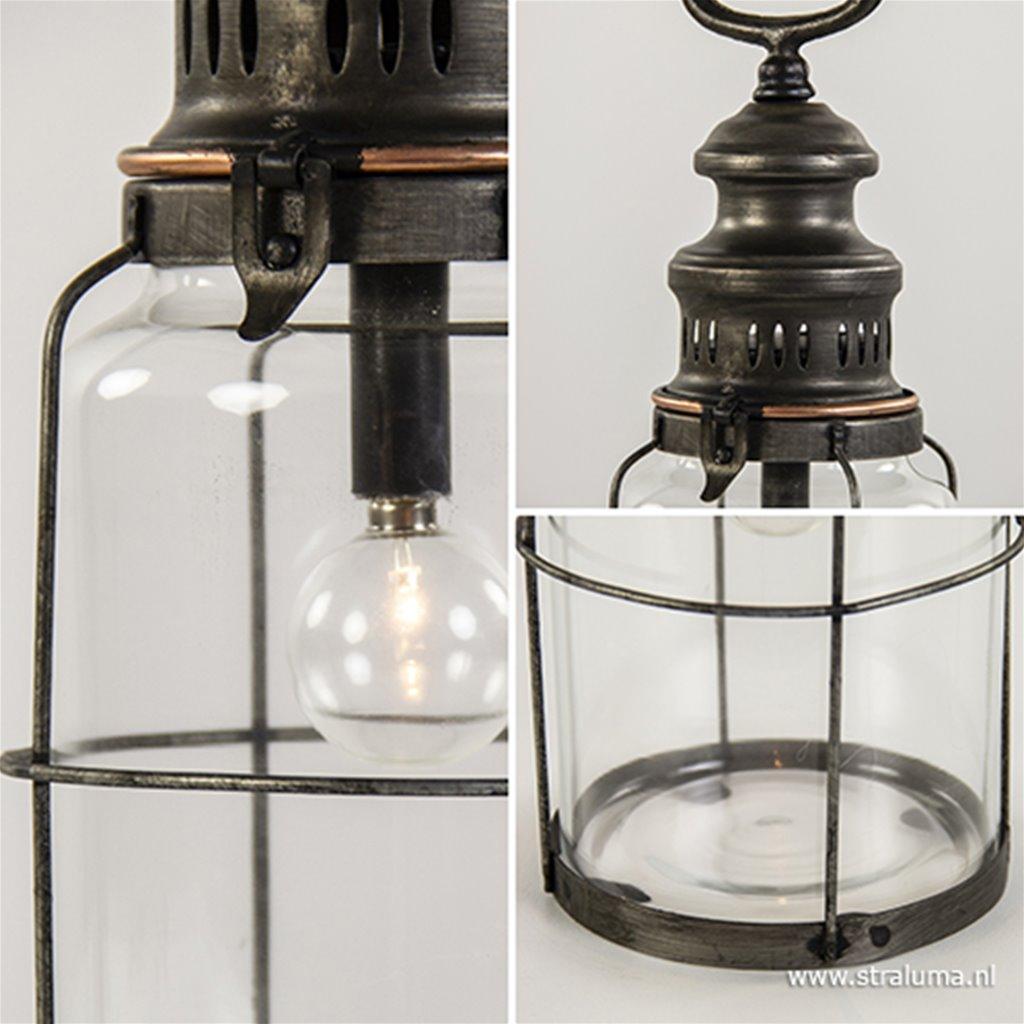 Tafellamp lantaarn metaal op batterijen