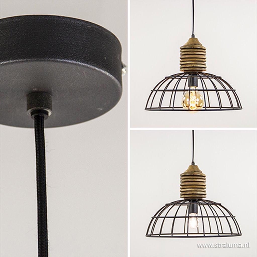 Draad hanglamp metaal/ hout L&L