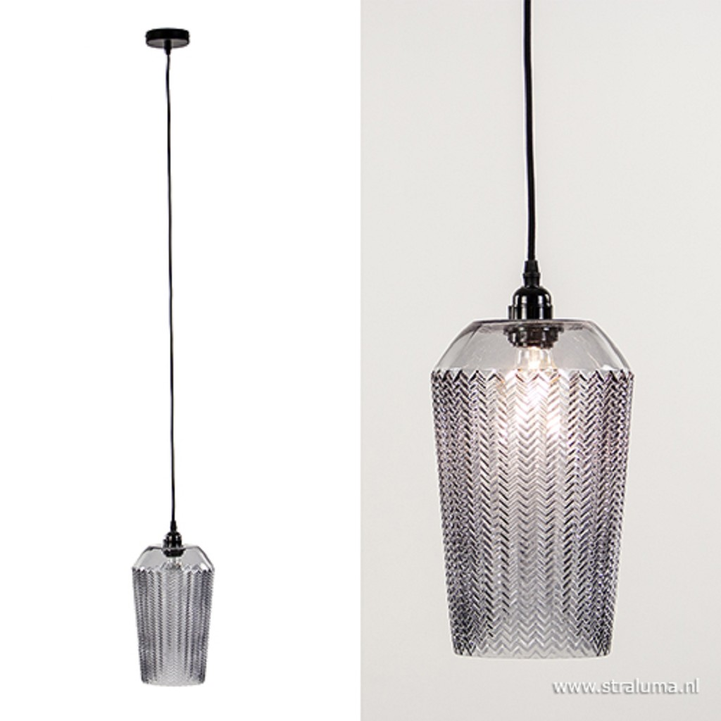 Hanglamp grijs glas met zwart snoer