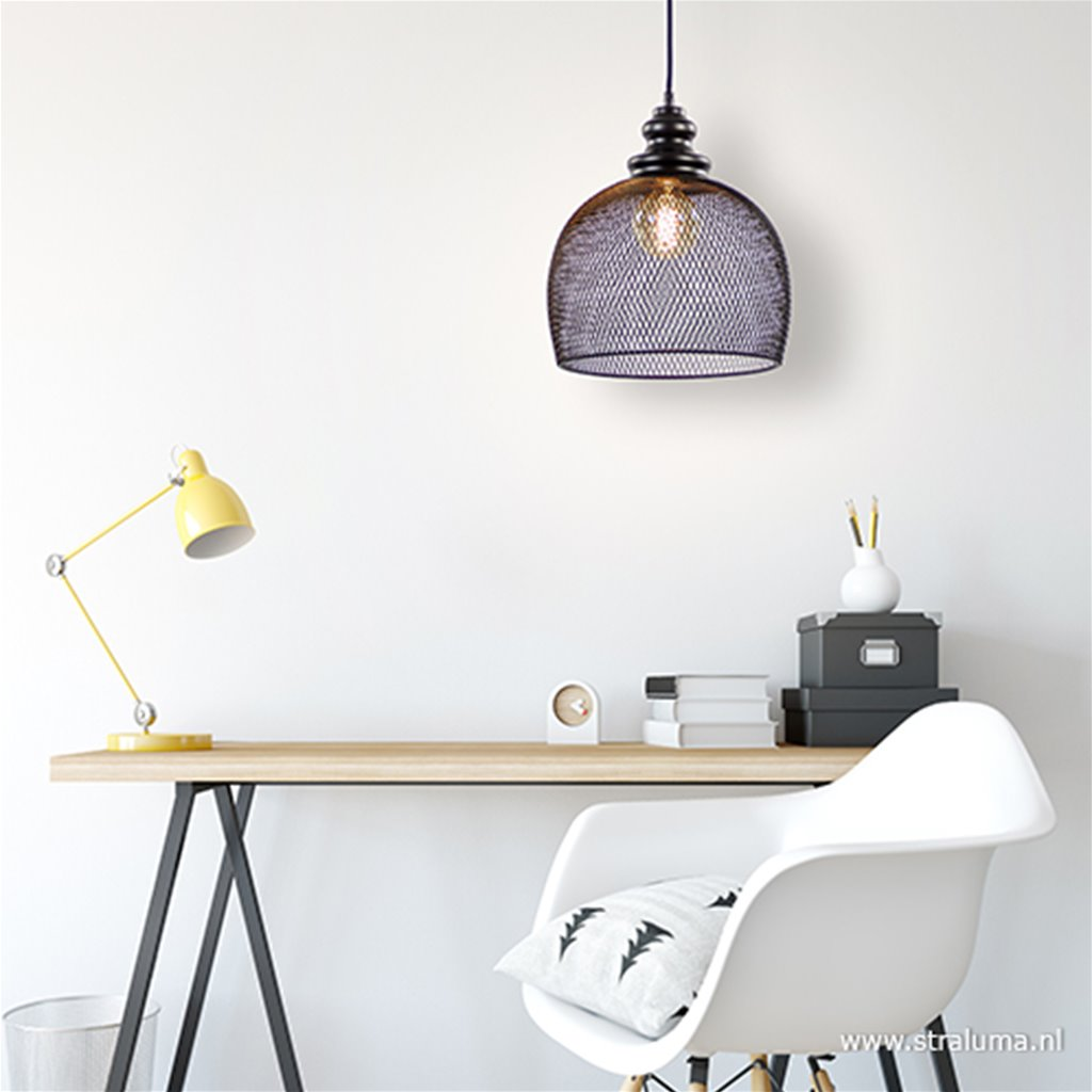Zwarte hanglamp Karla met gaas