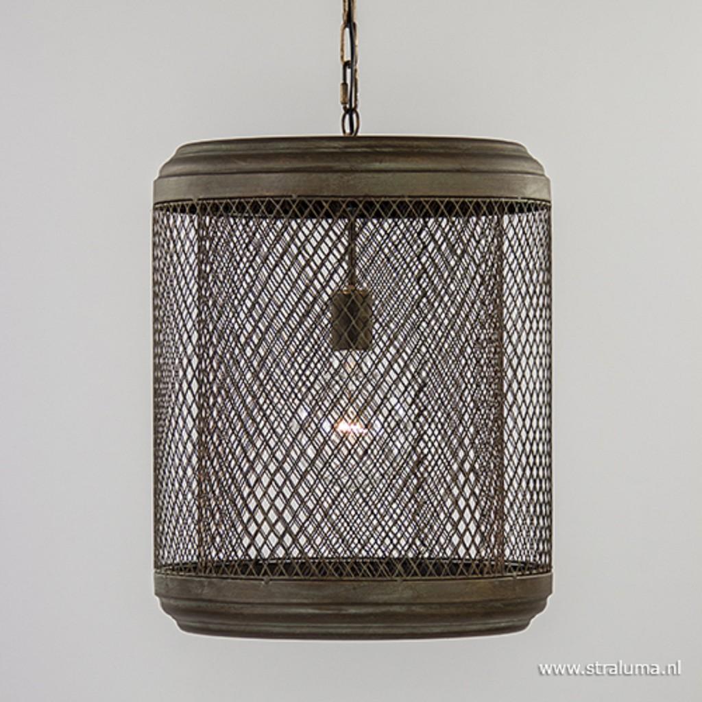*Landelijke hanglamp antiek koper
