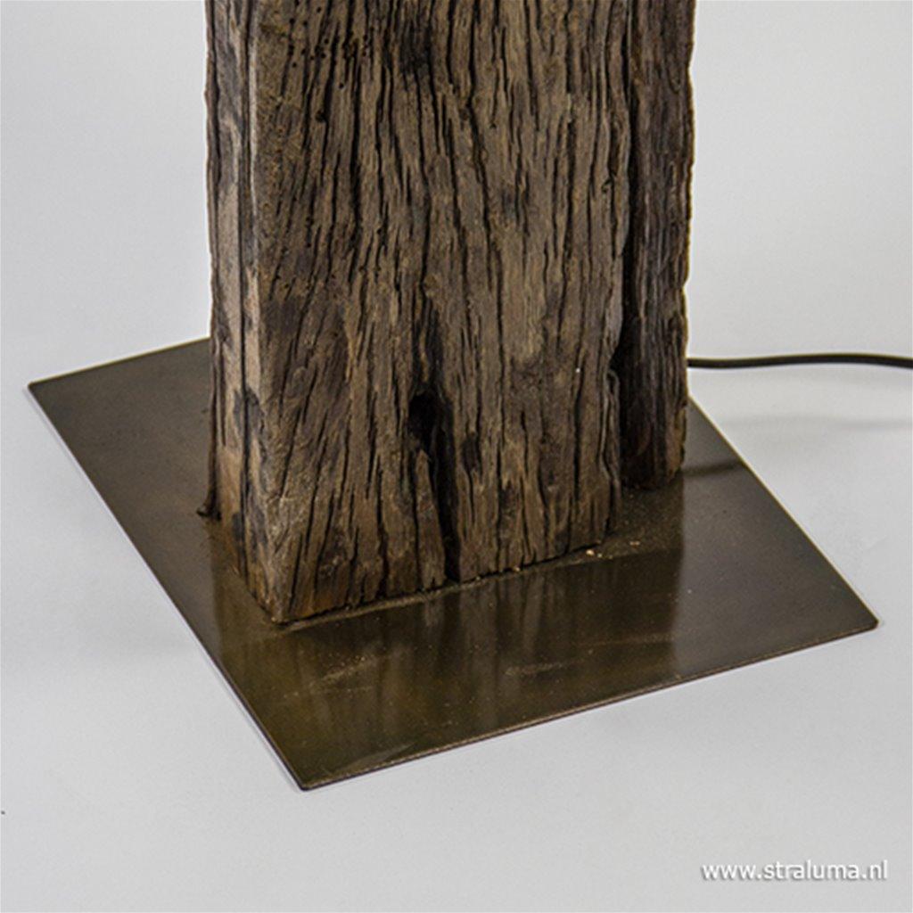 Houten vloerlamp met brons excl. kap