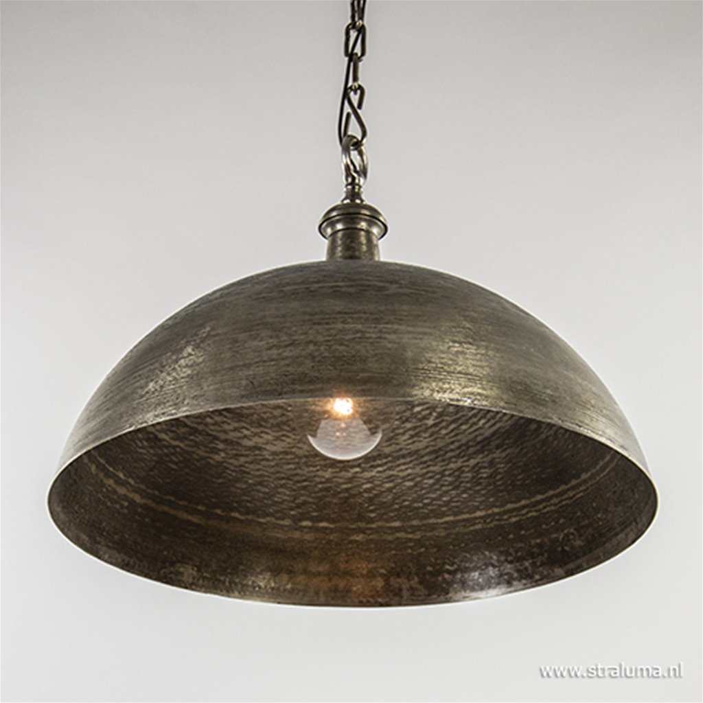 *Koepel hanglamp Demi oud nikkel 70cm