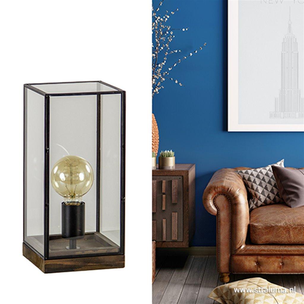 Glazen tafellamp Askjer hout met zwart