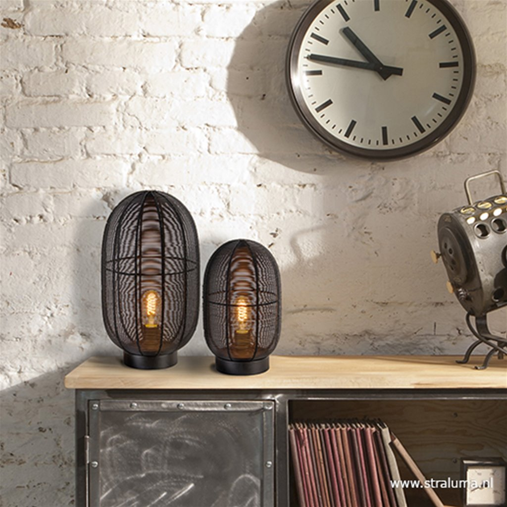 Industriële draad tafellamp Ophra zwart