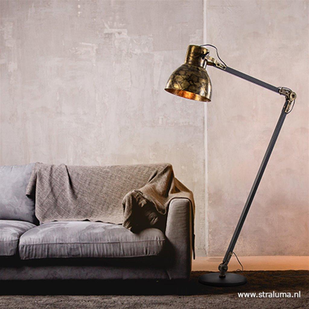 Vloerlamp Andrew zwart met gebrand brons