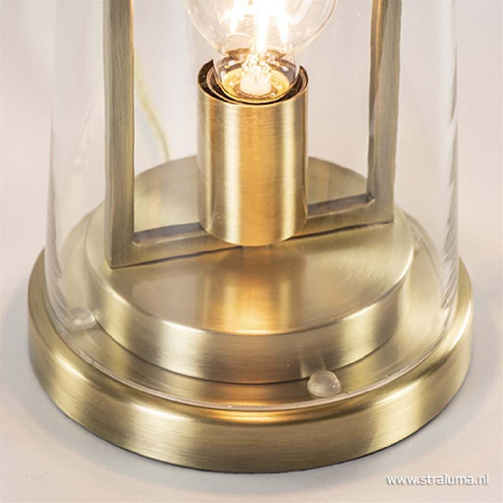Trendy tafellamp Amando goud met glas