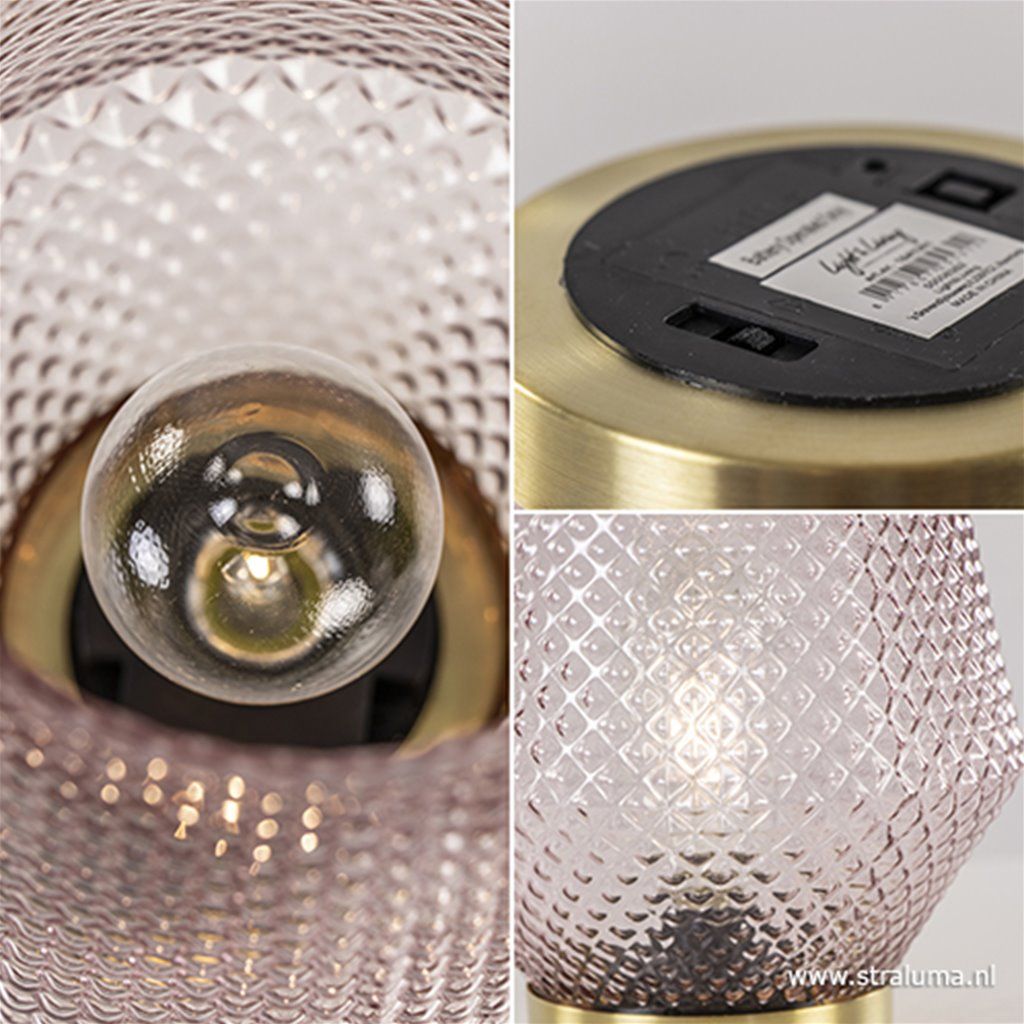Roze tafellamp Tovi op batterijen