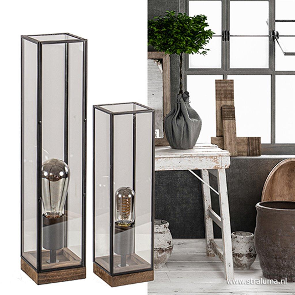 Landelijke tafellamp Askjer hout en glas