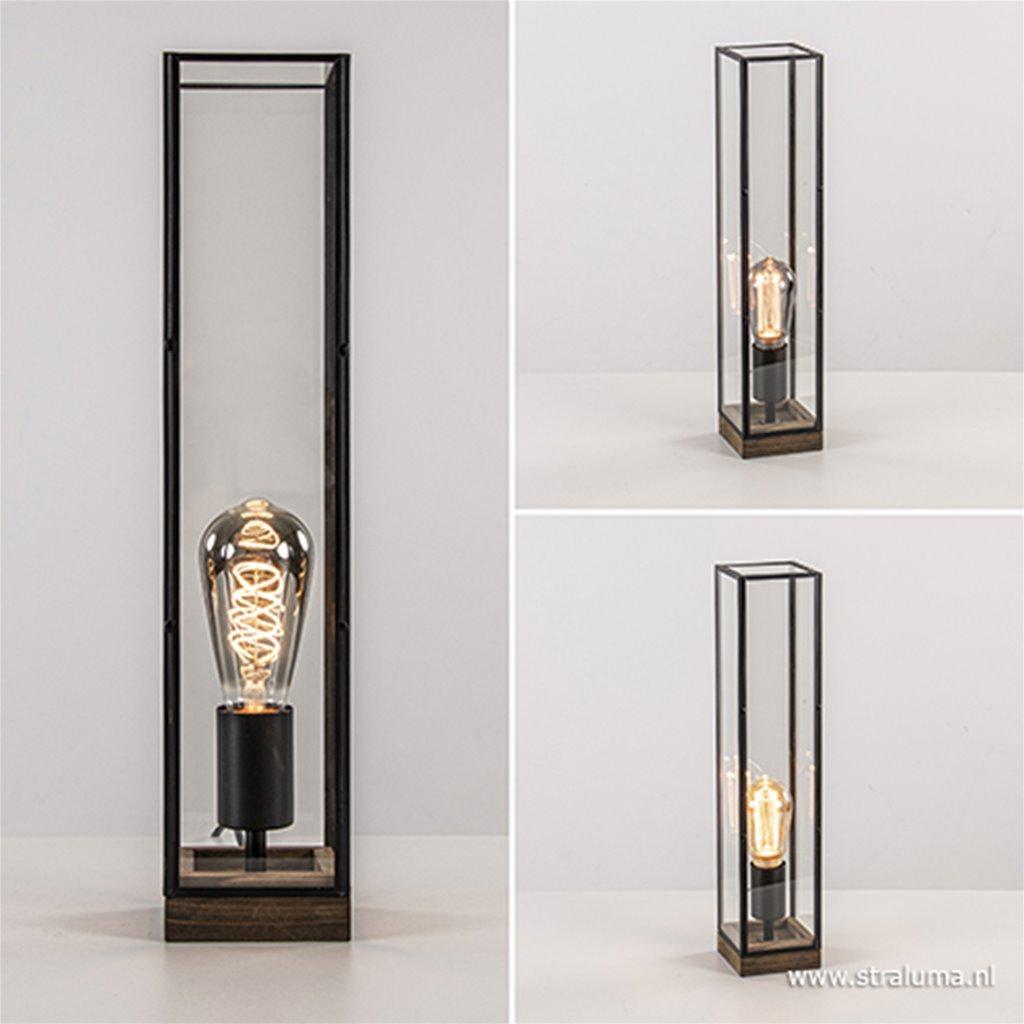 Light&Living tafellamp Askjer hout+glas