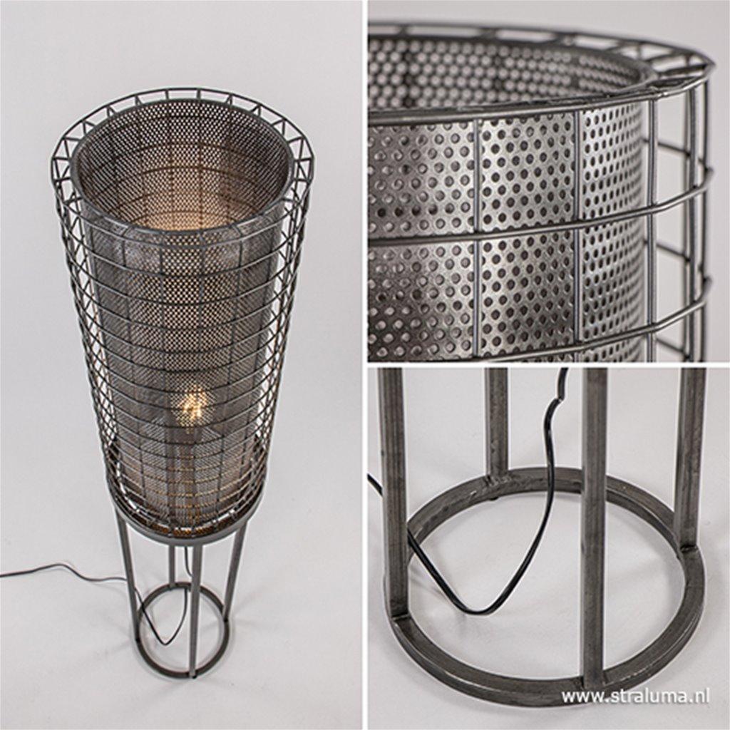 Industriële vloerlamp Arede metaal zink