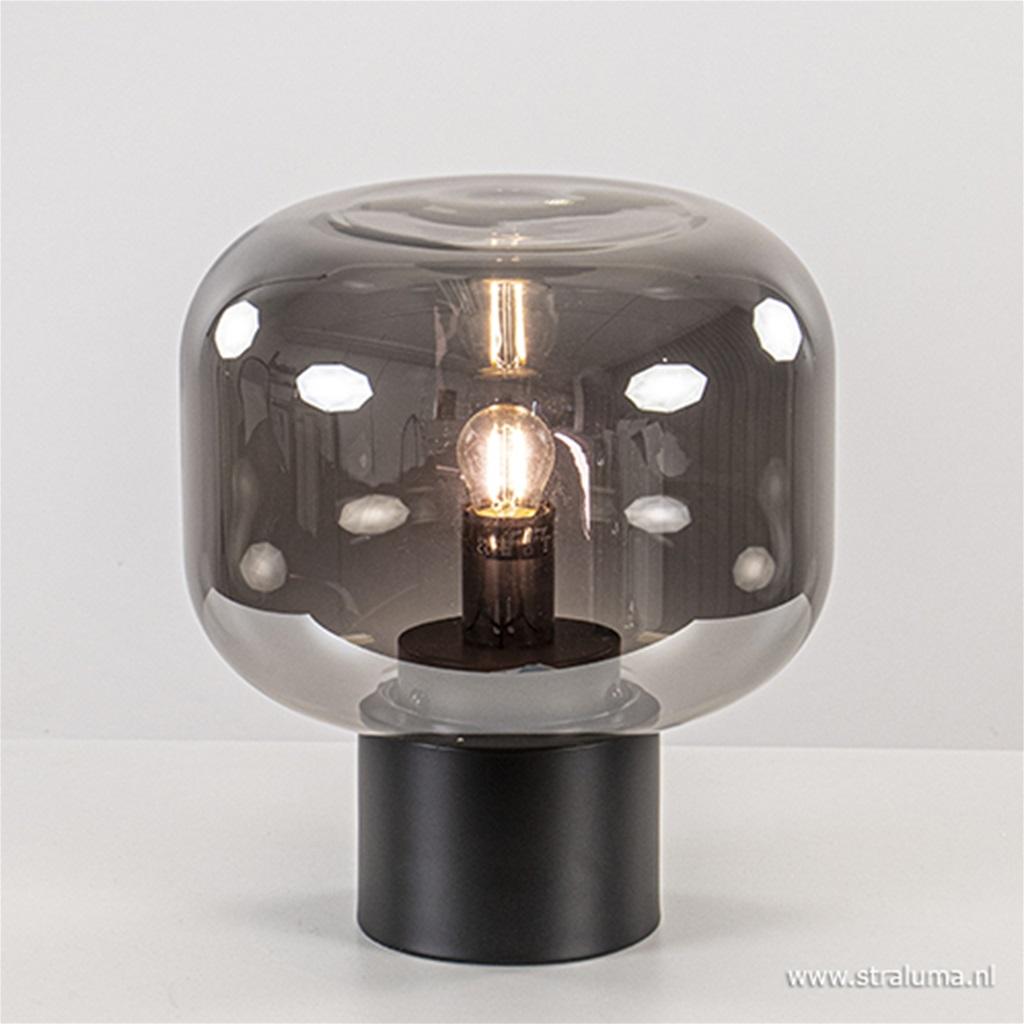 Smoke glazen tafellamp Arturan met zwart