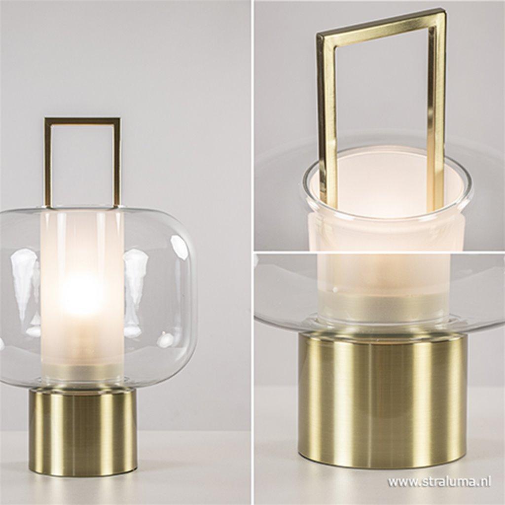 Tafellamp Arturos brons met helder glas