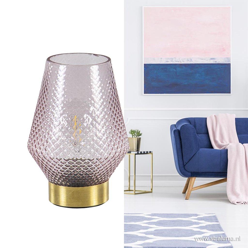 Kleine tafellamp Tovi roze met goud
