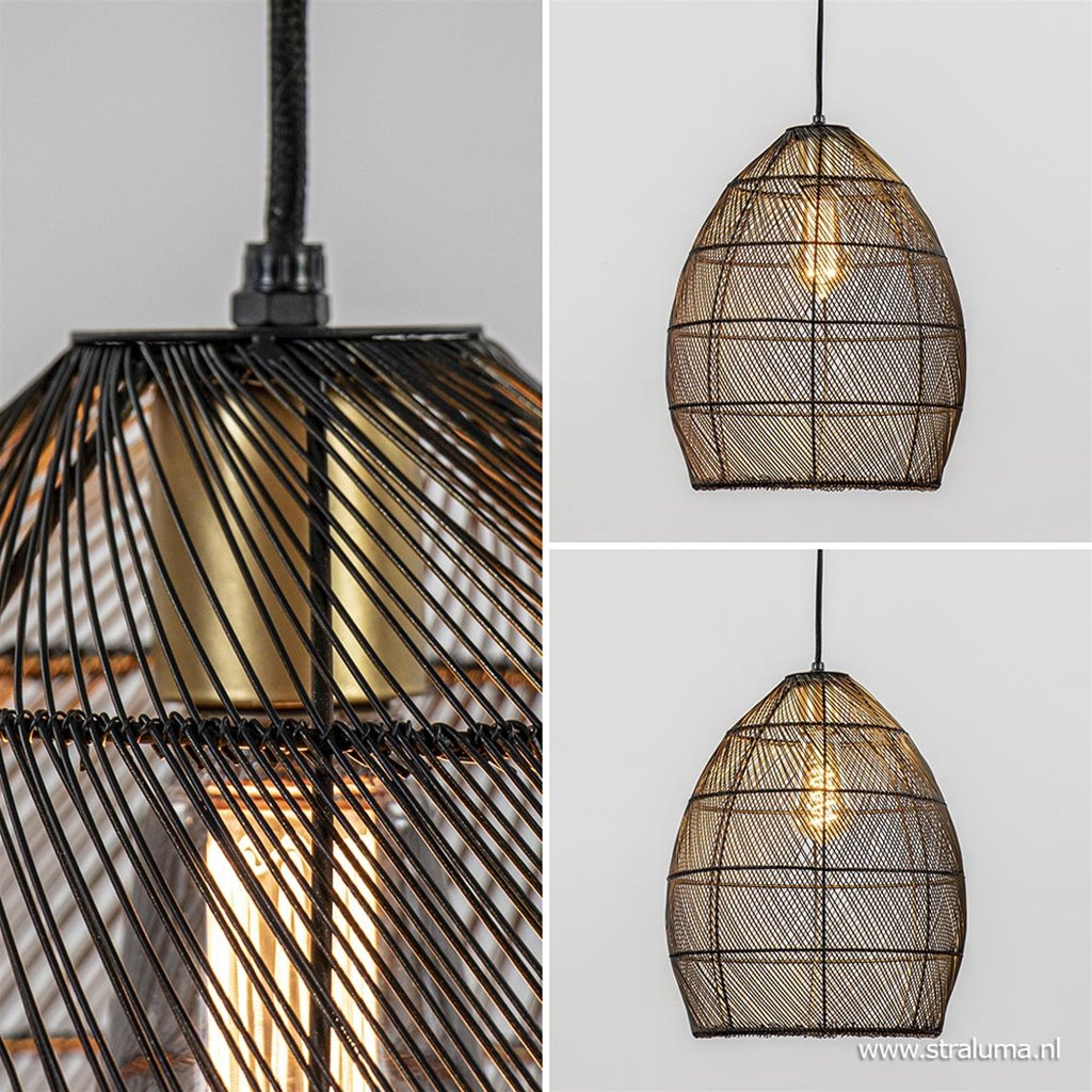Trendy draad hanglamp Meya zwart/goud