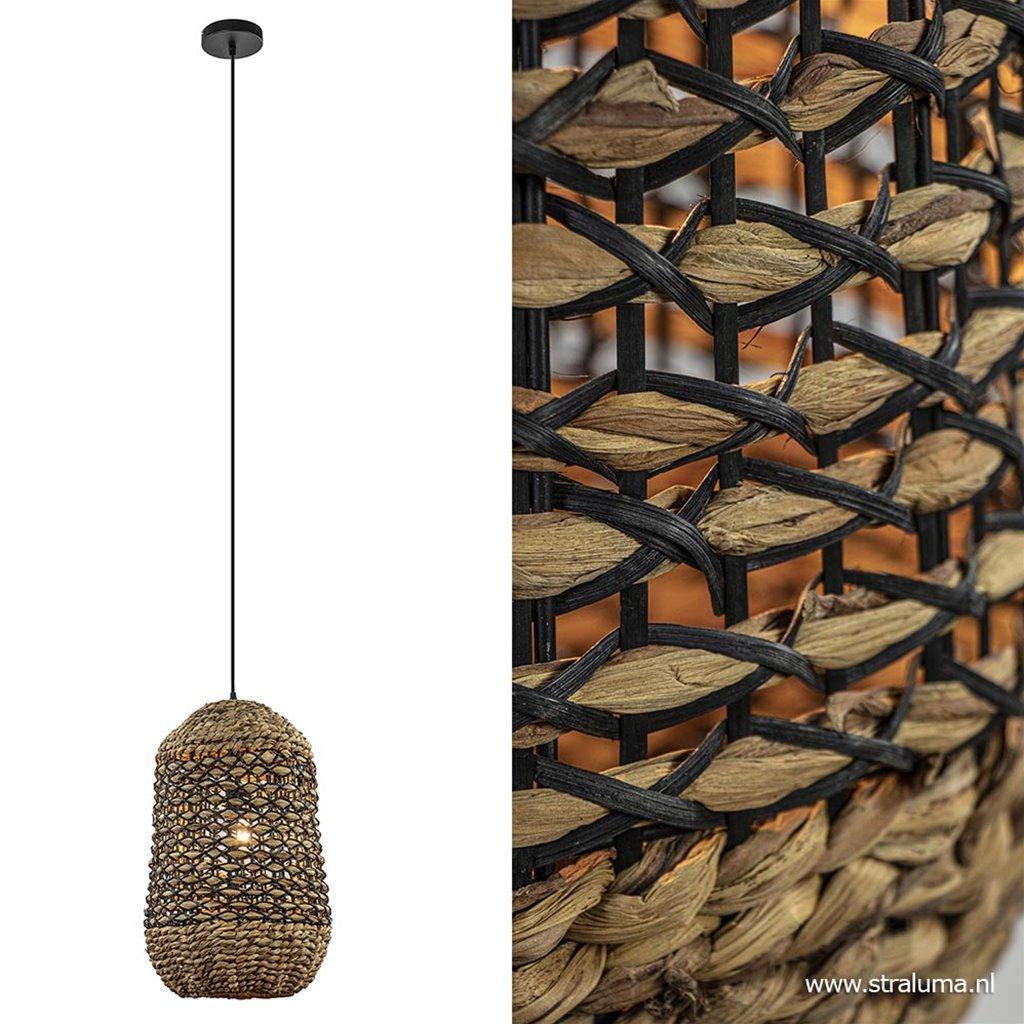 Landelijke hanglamp Tripoli rotan met zwart