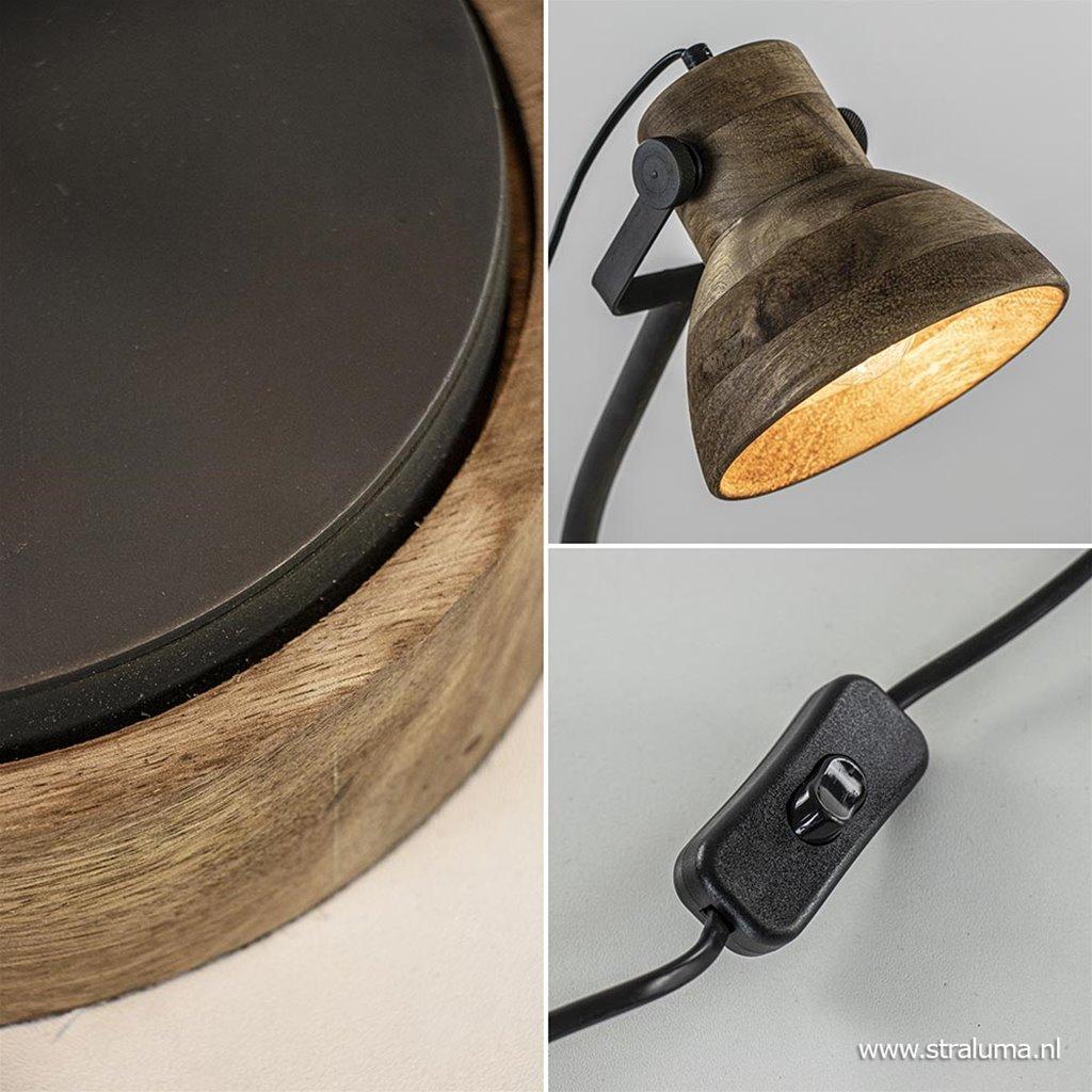 Bureaulamp Imbert mat zwart metaal met hout