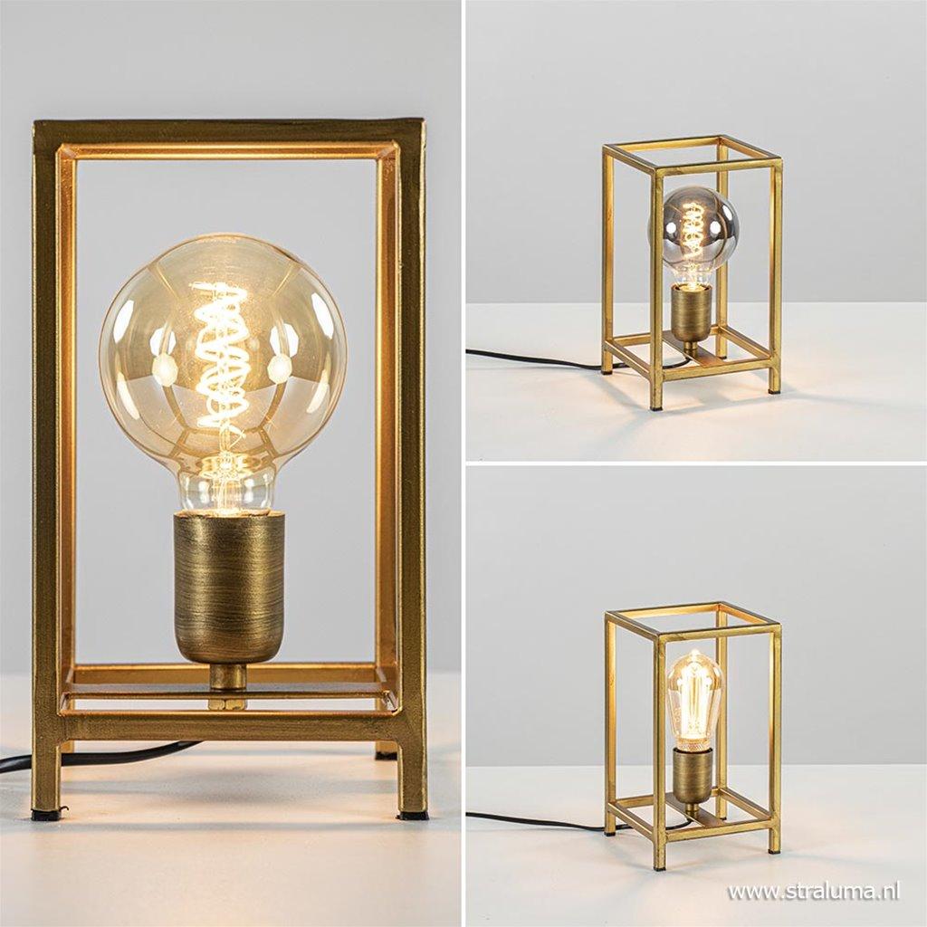 Antiek gouden tafellamp Marley vierkant frame