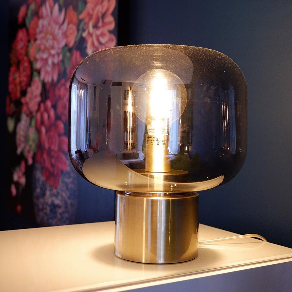 Tafellamp Arturan brons met smoke glazen kap