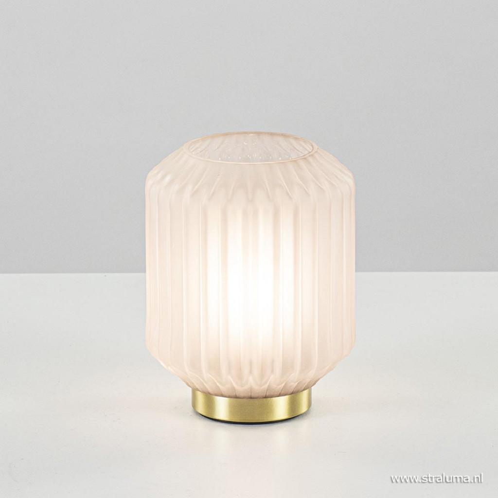 Tafellamp Ivot op batterij mat licht grijs glas