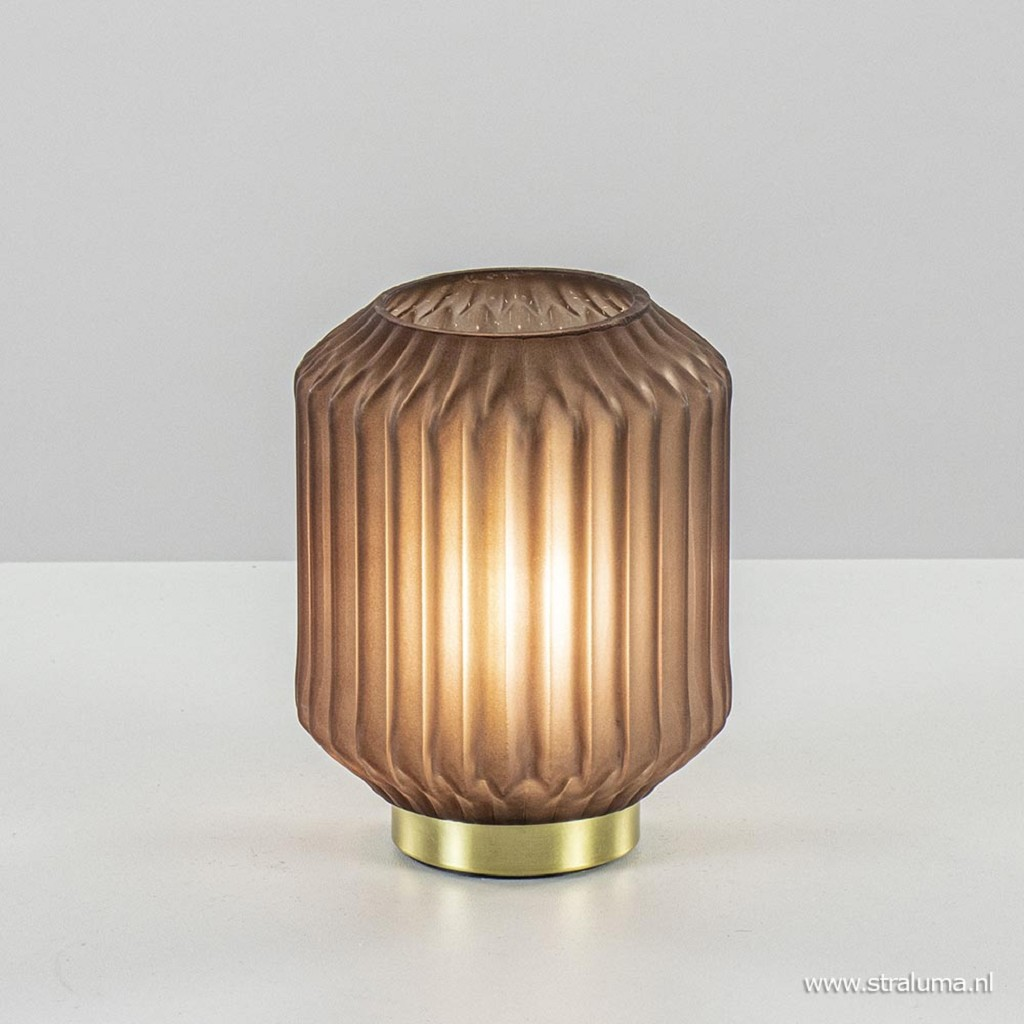 Tafellamp Ivot mat koffie met messing op batterij