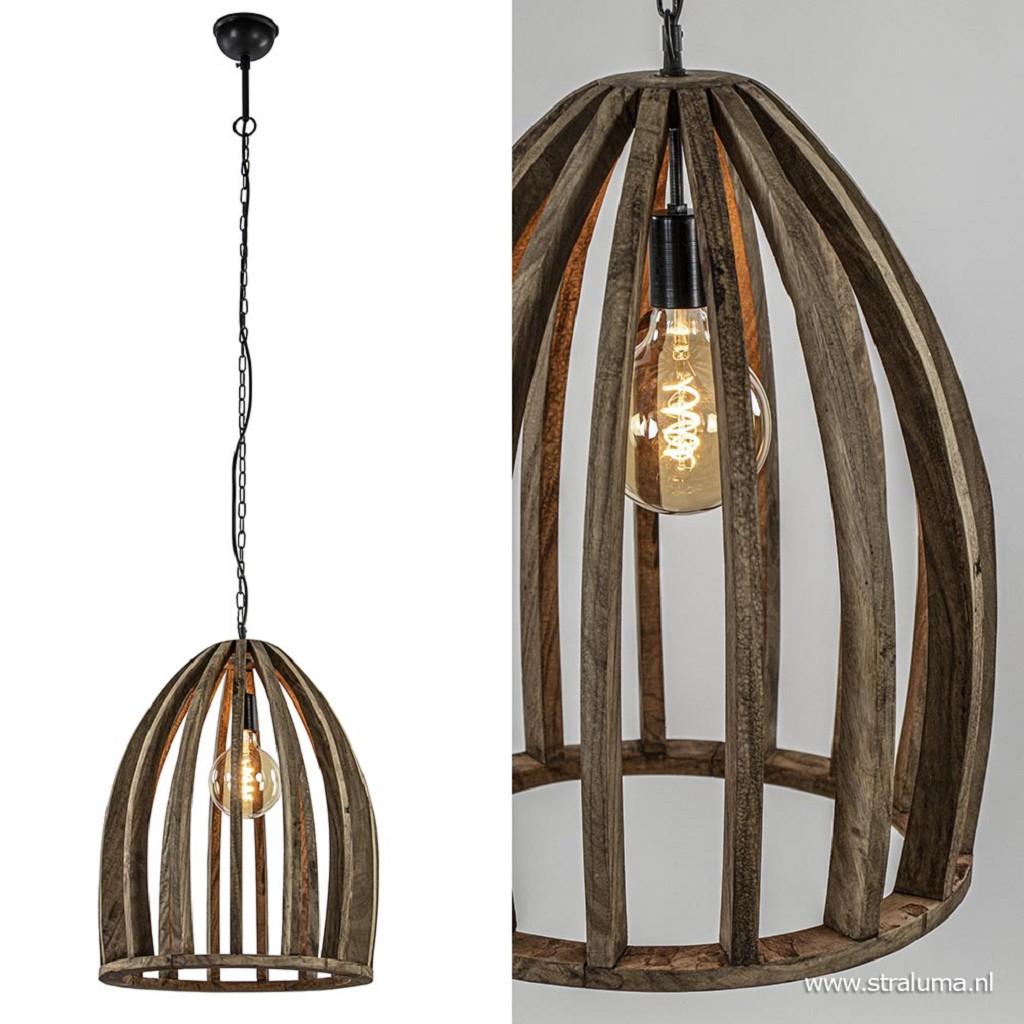 Houten hanglamp Haranka met zwart metaal