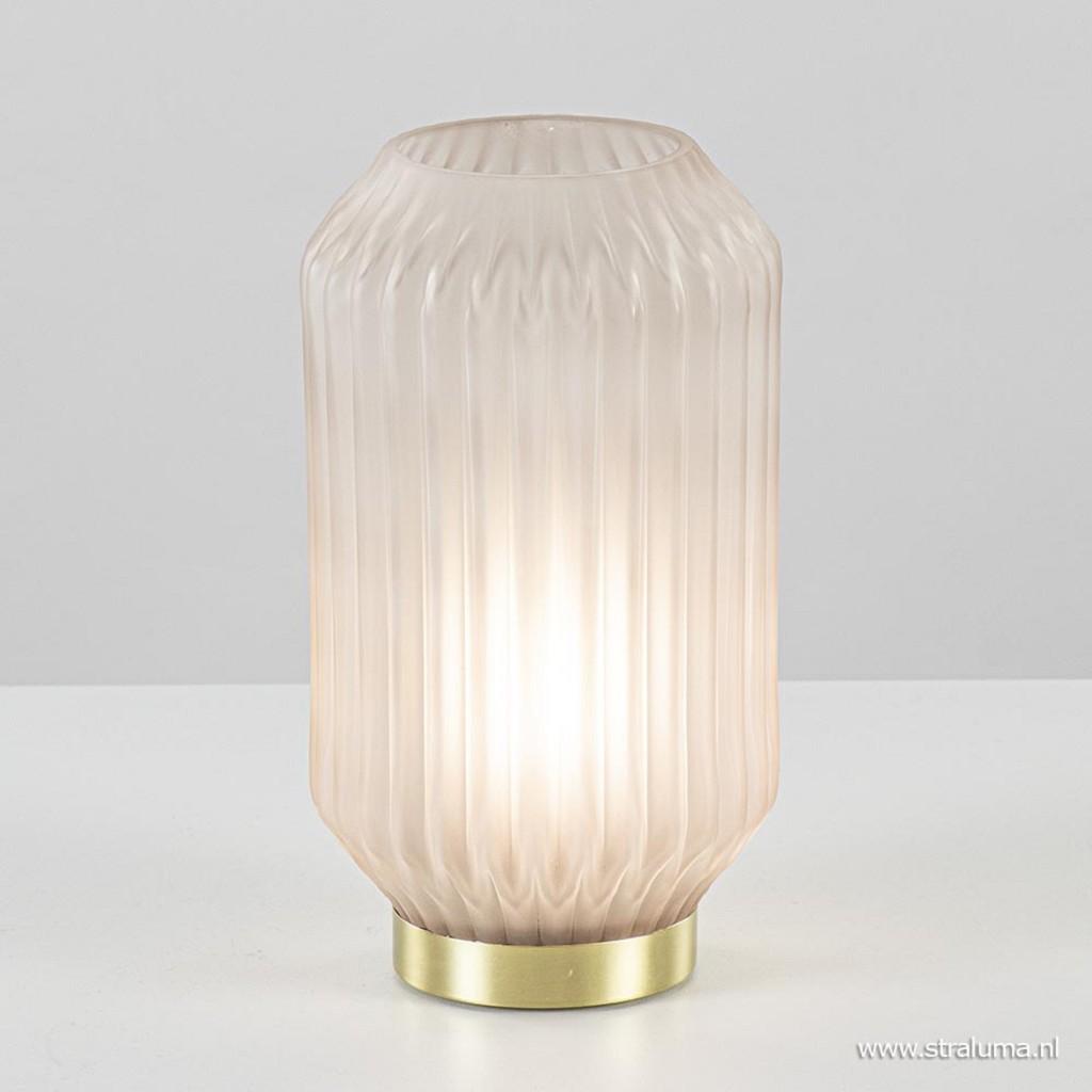 Tafellamp Ivot op batterij lichtgrijs met messing